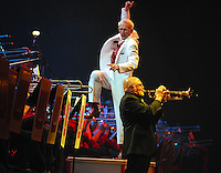 Guest trumpeter Mike Vax plays a tribute to Louis Armstrong along with the UW Marching Band on Thursday at the Kohl Center in Madison, Wisconsin on 4/17/07