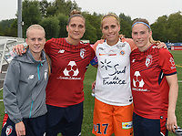 20180519 - LILLE , FRANCE : LOSC's Silke Demeyere (grey) with Maud Coutereels (2nd from L) and Jana Coryn (R) with Montpellier's Janice Cayman (2nd from R) pictured after the 21 st competition game between the women teams of Lille OSC and Montpellier Herault Sporting Club in the 2017-2018 season of the first Division - Ligue 1 at stade Lille Metropole , Sunday 19th May 2018 ,  PHOTO Dirk Vuylsteke | Sportpix.Be