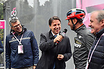 The Prime Minister Giuseppe Conte paid a visit to the Corsa Rosa today pictured with Paolo Bellino CEO of RCS Sport, Vincenzo Nibali (ITA) Bahrain-Merida and Mauro Vegni Director of the Giro d'Italia at sign on before Stage 5 of the 2019 Giro d'Italia, running 140km from Frascati to Terracina, Italy. 15th May 2019<br /> Picture: Massimo Paolone/LaPresse | Cyclefile<br /> <br /> All photos usage must carry mandatory copyright credit (© Cyclefile | Massimo Paolone/LaPresse)