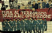 Milano 1978.Murales realizzato in Piazzale Cuoco sul tema delle stragi si Stato e la strategia della tensione..Foto Livio Senigalliesi