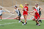 San Diego, CA 05/21/11 - Skylar Brown (Cathedral Catholic #9), Rachel Brennan (Coronado #22), Megan Depew-Brady (Cathedral Catholic #24) and Lauren Maack (Coronado #4) in action during the 2011 CIF San Diego Division 2 Girls lacrosse finals between Cathedral Catholic and Coronado.