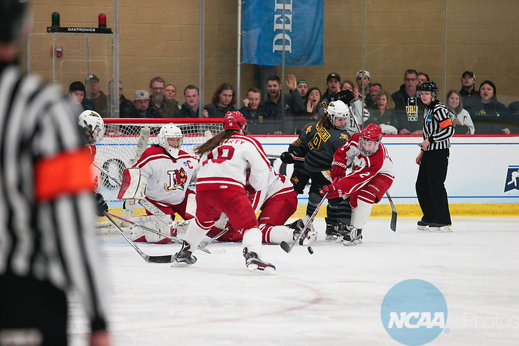 ADRIAN, MI - MARCH 18: Jordan Lipson (2) of Plattsburgh State University attempts a shot during the Division III Women's Ice Hockey Championship held at Arrington Ice Arena on March 19, 2017 in Adrian, Michigan. Plattsburgh State defeated Adrian 4-3 in overtime to repeat as national champions for the fourth consecutive year. by Tony Ding/NCAA Photos via Getty Images)