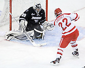 Justin Gates (PC - 29) stopped Ross Gaudet (BU - 22). - The Boston University Terriers defeated the visiting Providence College Friars 6-1 on Friday, January 20, 2012, at Agganis Arena in Boston, Massachusetts.