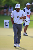 Hideto Tanihara (JPN) on the 15th green during the 2nd round of the DP World Tour Championship, Jumeirah Golf Estates, Dubai, United Arab Emirates. 16/11/2018<br /> Picture: Golffile | Fran Caffrey<br /> <br /> <br /> All photo usage must carry mandatory copyright credit (© Golffile | Fran Caffrey)