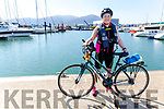 Mary Hickey on her Cycle around Ireland for the RNLI fundraiser, visiting the RNLI station on Fenit Pier on Monday.