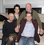 Playwright Terrence McNally, T.R. Knight, director Jack O'Brien and producer Tom Kirdahy during a backstage champagne celebration to welcome original cast member Nathan Lane and new cast member T.R. Knight to the production of 'It's Only A Play' at the Bernard B. Jacobs Theatre on March 31, 2015 in New York City.