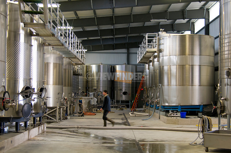 Large vats for wine making at NW Wines in Dundee, OR.