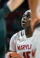 COLLEGE PARK, MD - FEBRUARY 13: Ashley Owusu #15 of Maryland at the free throw line during a game between Iowa and Maryland at Xfinity Center on February 13, 2020 in College Park, Maryland.
