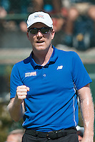 March 6, 2016: Jim Courier captain of the USA team cheers on John Isner in the first reverse single match against Bernard Tomic of Australia during of the BNP Paribas Davis Cup World Group first round tie between Australia and USA at Kooyong tennis club in Melbourne, Australia. Photo Sydney Low