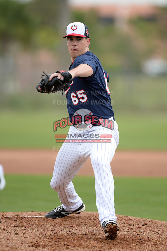 Minnesota Twins pitcher Trevor May (65) during practice on February 25, 2014 at Hammond Stadium in Fort Myers, Florida.  (Mike Janes Photography)