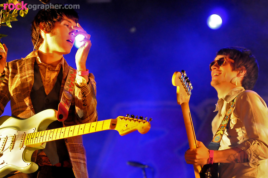 Ryan Ross and Brendon Vrie of..Vegas based emo rockers Panic at the Disco perform at Bamboozle 08 at  Meadowlands NJ