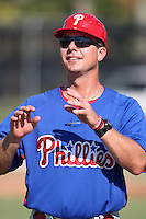 Philadelphia Phillies minor league coach Chris Truby vs. the Toronto Blue Jays in an Instructional League game at the Carpenter Complex in Clearwater, Florida;  October 9, 2010.  Photo By Mike Janes/Four Seam Images
