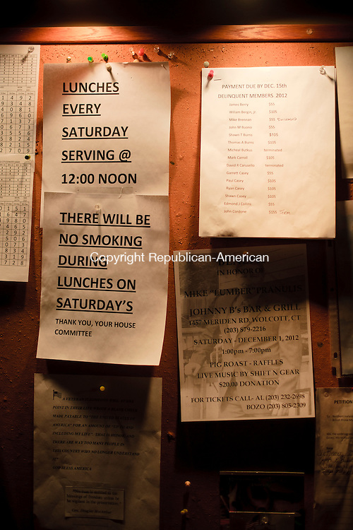 WATERBURY, CT - 28 November 2012-112812EC01--  Some private clubs and bars are limiting smoking.  The Ancient Order of Hibernians Club on Golden Hill Street in Waterbury posted a sign informing customers that there will be no smoking allowed during Saturday lunch.  Erin Covey Republican-American.