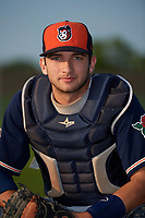 Connecticut Tigers catcher Joey Morgan (9) poses for a photo before a game against the Auburn Doubledays on August 9, 2017 at Falcon Park in Auburn, New York.  Connecticut defeated Auburn 6-4.  (Mike Janes/Four Seam Images)