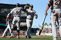 SAN FRANCISCO, CA - JULY 9:  A.J. Ellis #17 of the Miami Marlins celebrates with his teammates after hitting a home run against the San Francisco Giants during the game at AT&T Park on Sunday, July 9, 2017 in San Francisco, California. (Photo by Brad Mangin)