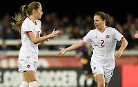 San Jose, CA - Sunday November 12, 2017: Janine Beckie scores and celebrates with Allysha Chapman during an International friendly match between the Women's National teams of the United States (USA) and Canada (CAN) at Avaya Stadium.