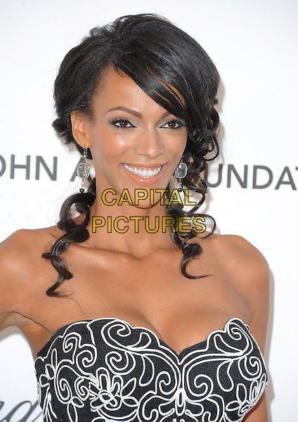 Judi Shekoni.The 21st Annual Elton John AIDS Foundation Academy Awards Viewing Party held at The City of West Hollywood Park in West Hollywood, California, USA..February 24th, 2013.oscars headshot portrait cleavage white black print strapless pattern                                               .CAP/DVS.©DVS/Capital Pictures.