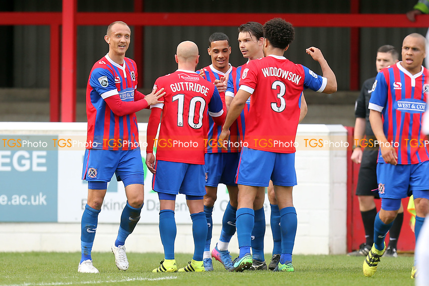 Corey Whitely of Dagenham is congratulated after scoring the third goal during Dagenham & Redbridge vs Eastleigh, Vanarama National League Football at the Chigwell Construction Stadium on 1st April 2017