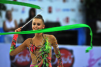 Yana Lukonina of Russia performs with ribbon at 2010 Pesaro World Cup on August 28, 2010 at Pesaro, Italy.  Photo by Tom Theobald.
