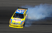 Feb 29, 2008; Las Vegas, NV, USA; NASCAR Sprint Cup Series driver Bobby Labonte crashes during practice for the UAW Dodge 400 at Las Vegas Motor Speedway. Mandatory Credit: Mark J. Rebilas-US PRESSWIRE