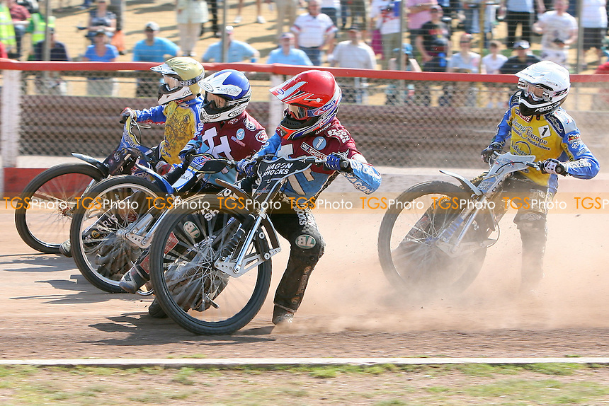 Heat 15: Pedersen (white), Swiderski (blue), Kylmakorpi (yellow) and Richardson - Lakeside Hammers vs Eastbourne Eagles - Elite League Speedway at Arena Essex Raceway - 22/04/11 - MANDATORY CREDIT: Gavin Ellis/TGSPHOTO - Self billing applies where appropriate - Tel: 0845 094 6026