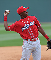 Third baseman Maikel Franco (18) of the Lakewood BlueClaws prior to a game against the Greenville Drive on the Drive's Opening Day, April 5, 2012, at Fluor Field at the West End in Greenville, South Carolina. (Tom Priddy/Four Seam Images)