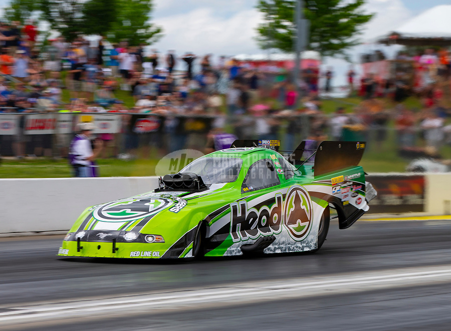 May 19, 2018; Topeka, KS, USA; NHRA funny car driver Jonnie Lindberg during qualifying for the Heartland Nationals at Heartland Motorsports Park. Mandatory Credit: Mark J. Rebilas-USA TODAY Sports