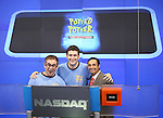 Jefferson Turner & Daniel Clarkson from the Off-Broadway Smash Hit 'Potted Potter' with NASDAQ Representative ring the closing bell at NASDAQ in Times Square, New York City on 7/5/2012
