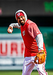 5 April 2018: Washington Nationals third baseman Anthony Rendon warms up prior to facing the New York Mets on the Nationals' Home Opening Day game at Nationals Park in Washington, DC. The Mets defeated the Nationals 8-2 in the first game of their 3-game series. Mandatory Credit: Ed Wolfstein Photo *** RAW (NEF) Image File Available ***