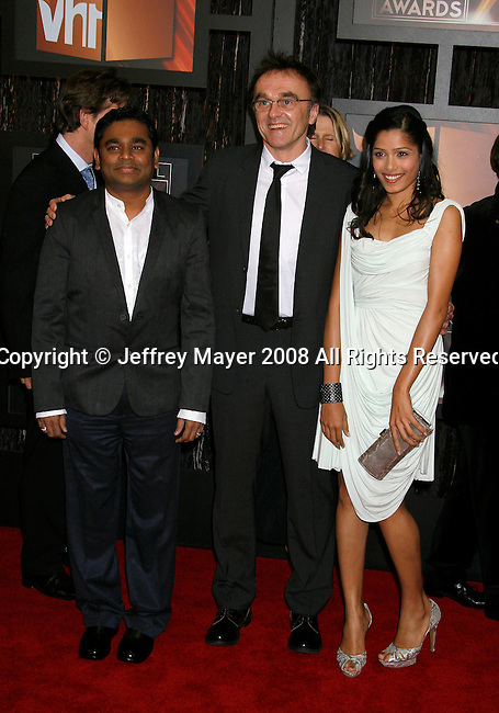 SANTA MONICA, CA. - January 08: Composer A.R. Rahman, Director Danny Boyle and Actress Freida Pinto arrive at VH1's 14th Annual Critics' Choice Awards held at the Santa Monica Civic Auditorium on January 8, 2009 in Santa Monica, California.