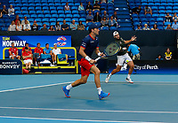 3rd January 2020; RAC Arena, Perth, Western Australia; ATP Cup Australia, Perth, Day 1,; USA v Norway Casper Ruud and Viktor Durasovic of Norway in the doubles against team USA - Editorial Use