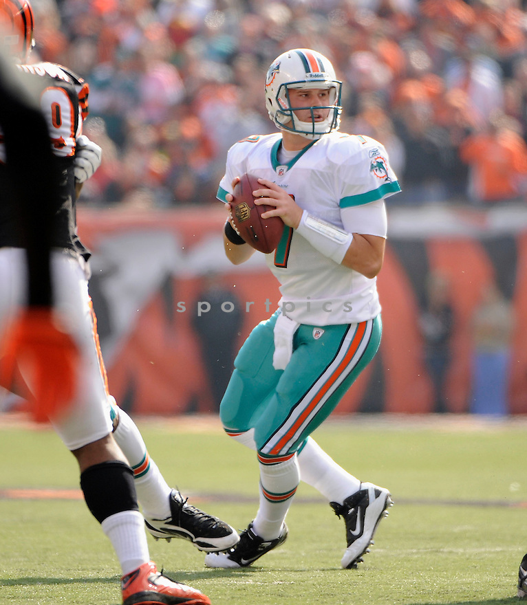 CHAD HENNE, in action during the Miami Dolphins game against the Cincinnati Bengals on October 31, 2010, at Paul Brown Stadium in Cincinnati, Ohio...Miami won 22-14..