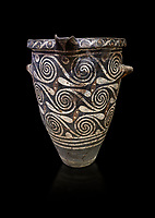 Luxury Minoan Kamares Ware pithos storage pot with incised swirl  decorations , Phaistos 1900-1700 BC; Heraklion Archaeological  Museum, black background.<br /> <br /> This style of pottery is named afetr Kamares cave where this style of pottery was first found