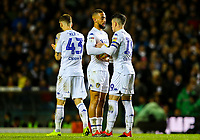 Leeds United's Kemar Roofe and Pablo Hernandez debate who will take the penalty<br /> <br /> Photographer Alex Dodd/CameraSport<br /> <br /> The EFL Sky Bet Championship - Leeds United v Queens Park Rangers - Saturday 8th December 2018 - Elland Road - Leeds<br /> <br /> World Copyright &copy; 2018 CameraSport. All rights reserved. 43 Linden Ave. Countesthorpe. Leicester. England. LE8 5PG - Tel: +44 (0) 116 277 4147 - admin@camerasport.com - www.camerasport.com