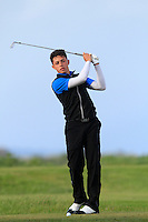 Marco Penge (ENG) on the 12th tee during Round 3 of The Irish Amateur Open Championship in The Royal Dublin Golf Club on Saturday 10th May 2014.<br /> Picture:  Thos Caffrey / www.golffile.ie