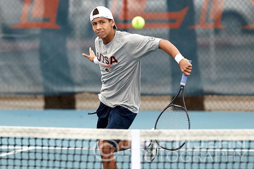 SAN ANTONIO, TX - MARCH 2, 2019: The University of Texas at San Antonio Roadrunners defeat the University of Texas Rio Grande Valley Vaqueros 6-1 at the UTS Tennis Center. (Photo by Jeff Huehn)