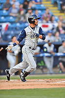 Columbia Fireflies third baseman Rigoberto Terrazas (9) swings at a pitch during a game against the Asheville Tourists at McCormick Field on April 12, 2018 in Asheville, North Carolina. The Fireflies defeated the Tourists 7-5. (Tony Farlow/Four Seam Images)