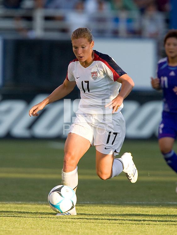 Lori Chalupny dribbles. USA defeated Japan 4-1 at Spartan Stadium in San Jose, CA on July 28, 2007.