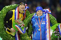 SCHAATSEN: HEERENVEEN: IJsstadion Thialf, 28-12-2014, NK Allround, Sven Kramer en Ireen Wüst, ©foto Martin de Jong