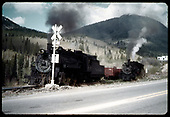 &quot;53-2 engines on lower level, Garfield, CO.&quot;<br /> D&amp;RGW  Garfield, CO  Taken by LeMassena, Robert A. - 6/1975