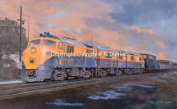 "Baldwin Babyface diesel locomotives of the Jersey Central Railroad pulling a coal drag out of Scranton to the shipping docks in New Jersey. Oil on canvas, 20"" x 32""."