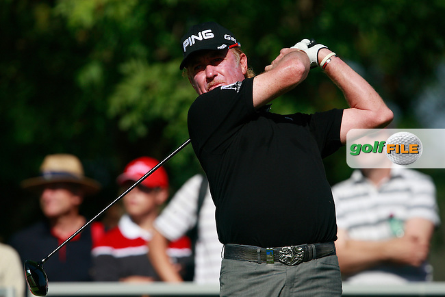 Miguel Angel Jimenez (ESP) tees off on the 2nd tee during Sunday's Final Round of the Austrian Open presented by Lyoness at the Diamond Country Club, Atzenbrugg, Austria, 25th September 2011 (Photo Eoin Clarke/www.golffile.ie)
