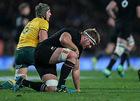 Sam Cane gets up during the Bledisloe Cup and Rugby Championship rugby match between the New Zealand All Blacks and Australia Wallabies at Eden Park in Auckland, New Zealand on Saturday, 25 August 2018. Photo: Simon Watts / lintottphoto.co.nz