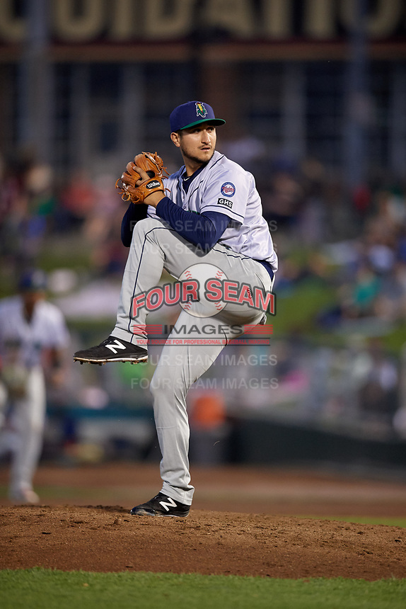 Cedar Rapids Kernels relief pitcher Hector Lujan (35) delivers a pitch during a game against the Dayton Dragons on May 10, 2017 at Fifth Third Field in Dayton, Ohio.  Cedar Rapids defeated Dayton 6-5 in ten innings.  (Mike Janes/Four Seam Images)