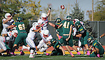 SPEARFISH, SD - OCTOBER 26, 2013:  Christian Parr #41 of Black Hills State kicks a field goal against Colorado State - Pueblo during their Rocky Mountain Athletic Conference game Saturday at Lyle Hare Stadium in Spearfish, S.D. CSU-Pueblo won 51-17. (Photo by Dick Carlson/Inertia)