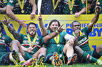 Manu Tuilagi, Martin Castrogiovanni and Vereniki Goneva celebrate. Aviva Premiership Final, between Leicester Tigers and Northampton Saints on May 25, 2013 at Twickenham Stadium in London, England. Photo by: Patrick Khachfe / Onside Images