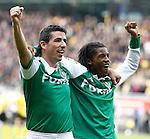 Nederland, Kerkrade, 2 november 2008 .Eredivisie .Seizoen 2008-2009 .Roda JC-Feyenoord (4-0) .Roy Makaay (l) en Georginio Wijnaldum (r) van Feyenoord juichen nadat Makaay heeft gescoord