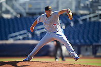 Mesa Solar Sox pitcher Justin Shafer (16), of the Toronto Blue Jays organization, during a game against the Peoria Javelinas on October 19, 2016 at Peoria Stadium in Peoria, Arizona.  Peoria defeated Mesa 2-1.  (Mike Janes/Four Seam Images)