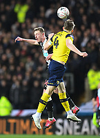 4th February 2020; Kassam Stadium, Oxford, Oxfordshire, England; English FA Cup Football; Oxford United versus Newcastle United; Rob Dickie of Oxford competes in the air with Sean Longstaff of Newcastle