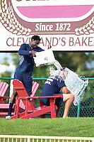 Lake County Captains pitcher Luis DeJesus takes the ALS Ice Bucket Challenge with help of teammate Alexis Paredes before game against the Fort Wayne TinCaps on August 21, 2014 at Classic Park in Eastlake, Ohio.  Lake County defeated Fort Wayne 7-8.  (Mike Janes/Four Seam Images)